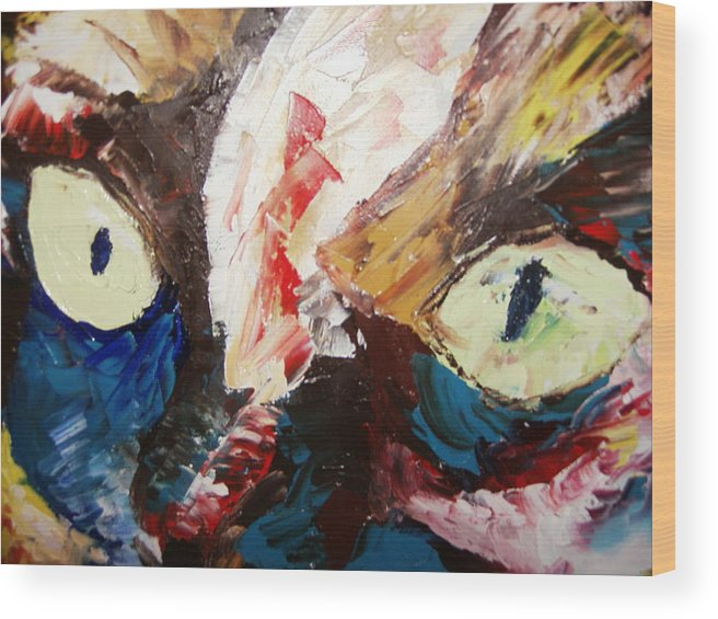 Painting.oil.acrylic Wood Print featuring the painting Calico Cat Face by Adeniyi Peter