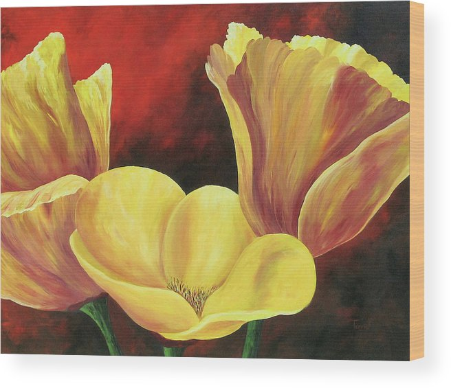 Poppies Wood Print featuring the painting California Poppies Iv by Torrie Smiley