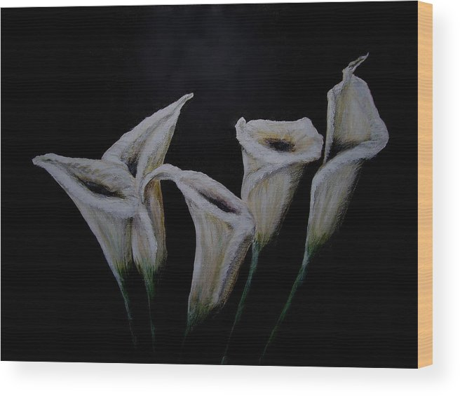 Floral Wood Print featuring the painting Calli Lillies In The Dark by Dyanne Parker