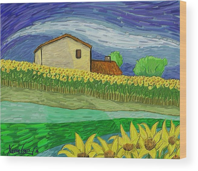 Figurative Wood Print featuring the painting Camp De Girasols by Xavier Ferrer