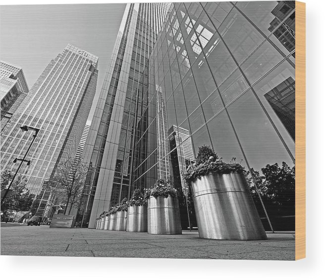 London Wood Print featuring the photograph Canary Wharf Financial District In Black And White by Gill Billington