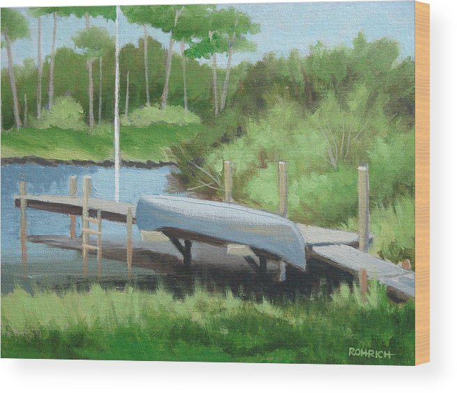 Canoe Wood Print featuring the painting Canoe Dock by Robert Rohrich