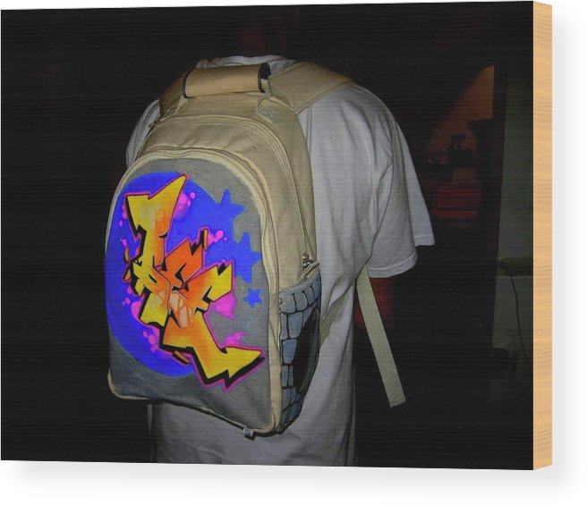 Canvas Wood Print featuring the mixed media Canvas Back Pack by Ree Vilomar