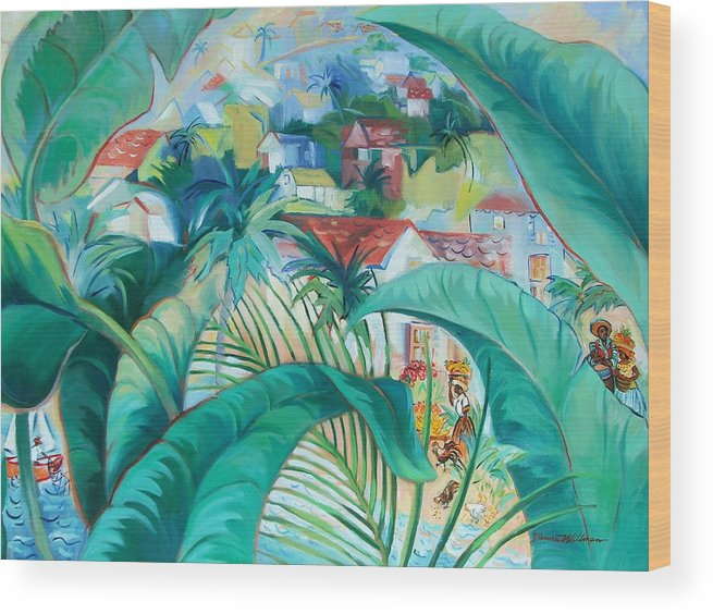 Caribbean Figures Wood Print featuring the painting Caribbean Fantasy by Dianna Willman