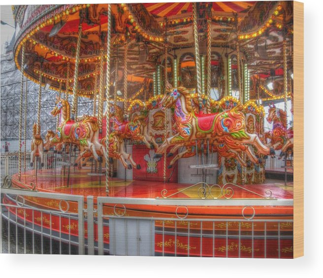 Merrygoroud Wood Print featuring the photograph Carousel by Almondo Wardle