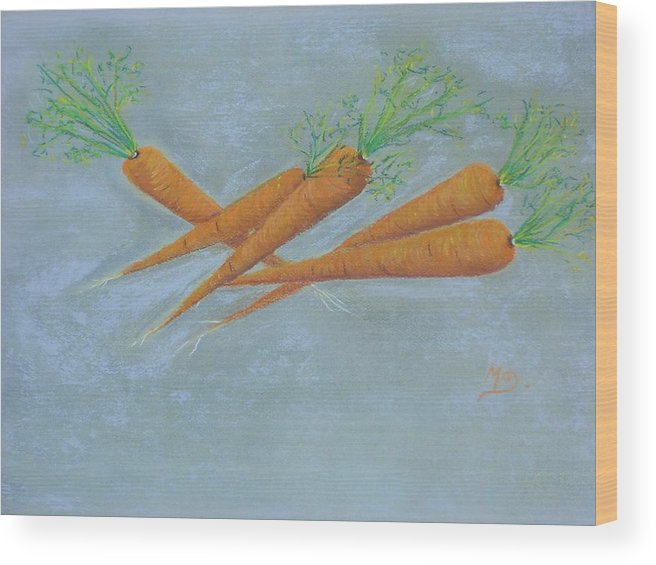 Vegetables Wood Print featuring the painting Carrots by Murielle Hebert