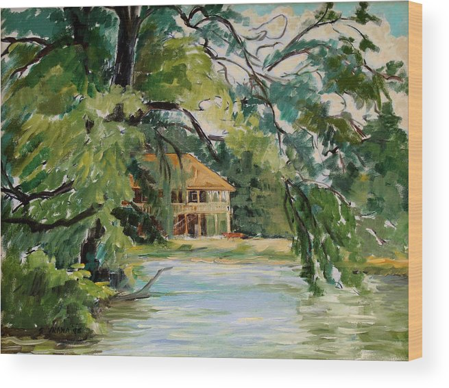 Cascadilla Boathouse Wood Print featuring the painting Cascadilla Boathouse Ithaca New York by Ethel Vrana
