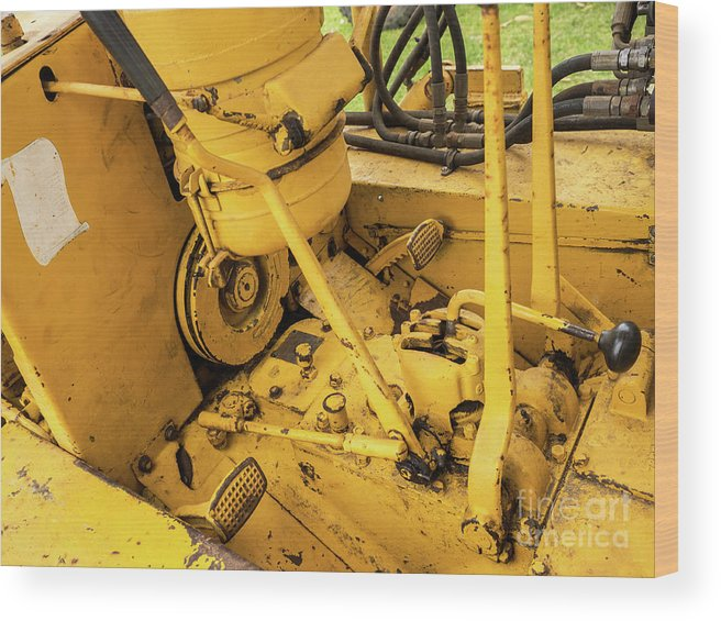 Yellow Wood Print featuring the photograph Caterpillar D2 Bulldozer 07 by Rick Piper Photography