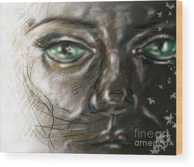 Portrait Wood Print featuring the digital art Catface by Iglika Milcheva-Godfrey