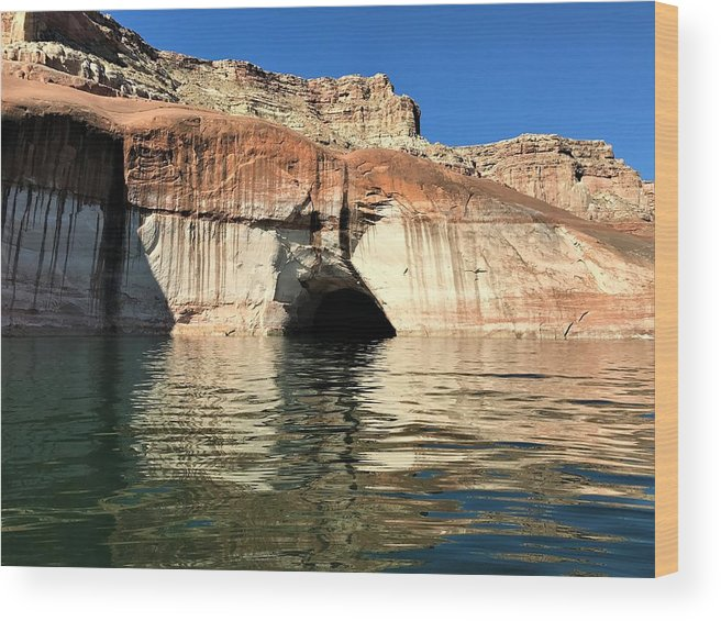 Cave Wood Print featuring the photograph Cave Opening At Lake Powell by Michael Bergman