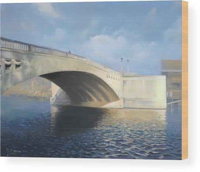 Cavershambridge Wood Print featuring the painting Caversham Bridge by Richard Picton