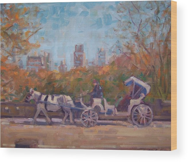 Horse -drawn Carriage In Central Park Ny Wood Print featuring the painting Central Park Tourists by Bart DeCeglie