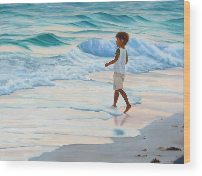 Child Wood Print featuring the painting Chasing The Waves by Lea Novak