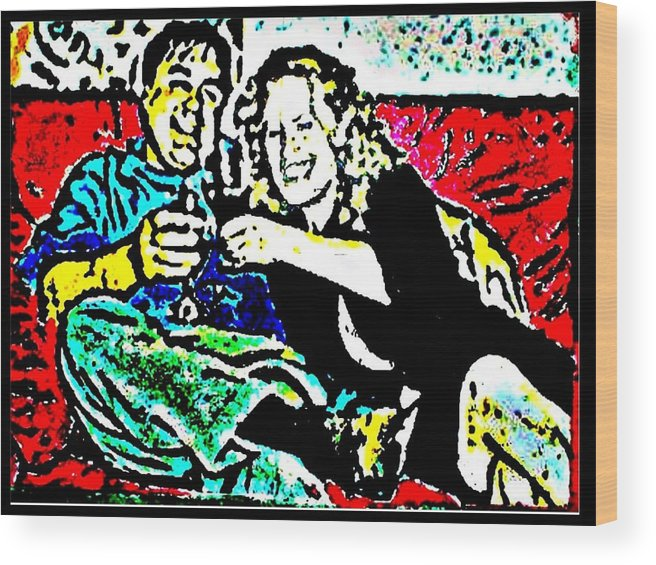 Friends Wood Print featuring the painting Cheers by Christopher Thames