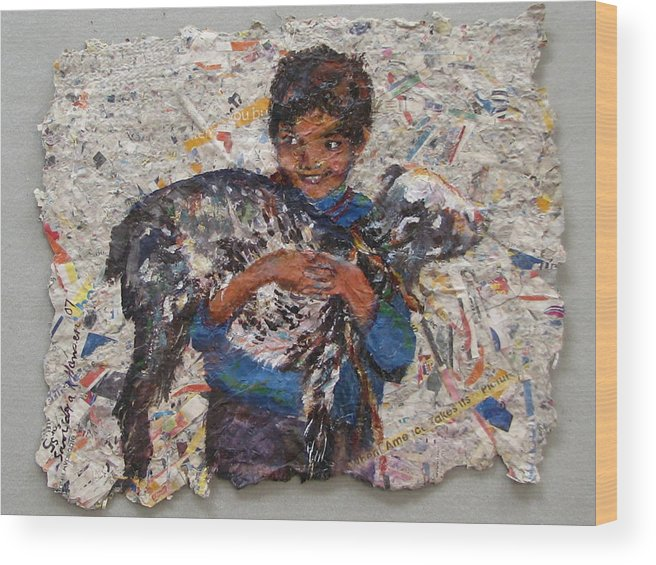 Goat Wood Print featuring the painting Child With Goat On Handmade Paper by Art Nomad Sandra Hansen