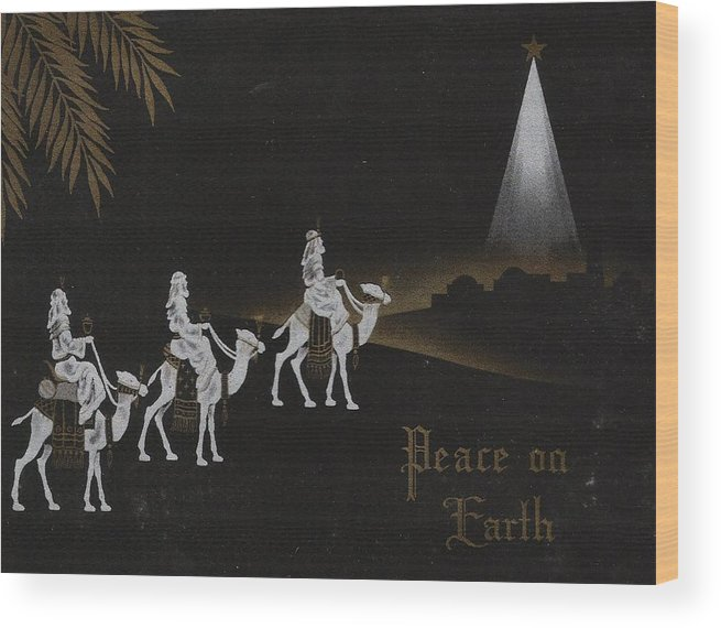 Three Kings On Camel Wood Print featuring the painting Christmas Illustration 1238 - Vintage Christmas Cards - Three Kings On Camel by TUSCAN Afternoon