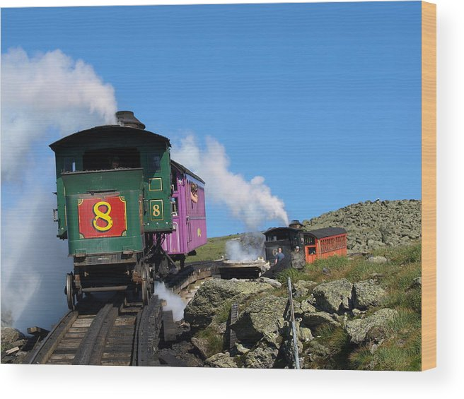 Trains Wood Print featuring the photograph Chugging Up by Peter Gray