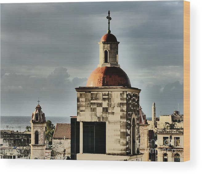 Church Wood Print featuring the photograph Church Bell Tower, Old Havana by Maxine Kamin
