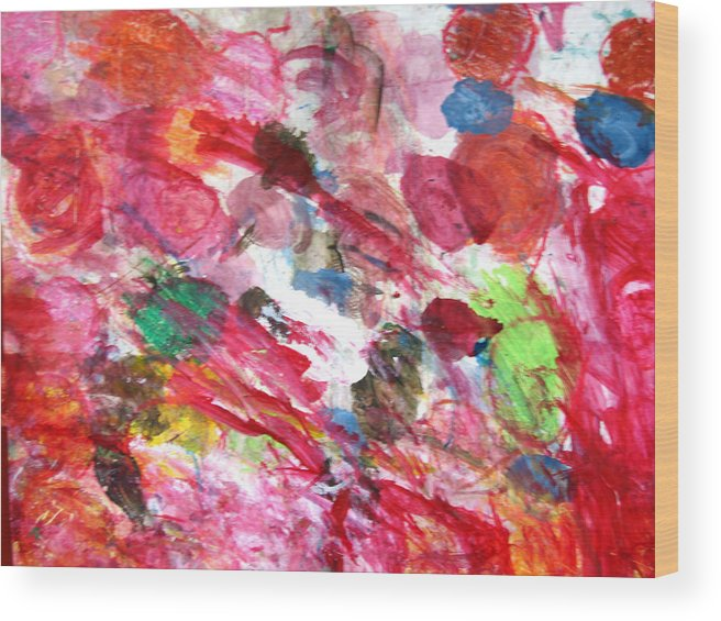 Abstract Wood Print featuring the painting Circles by Kitty Hansen