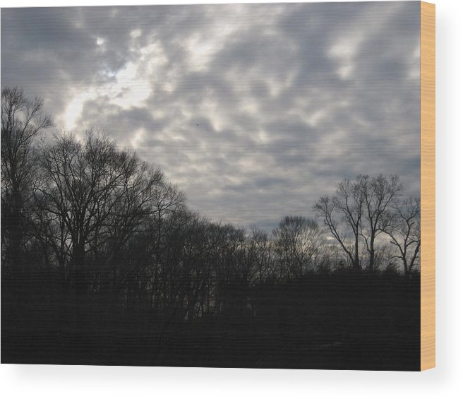 Dark Wood Print featuring the photograph Clouds Roll Over The Sky by Jennifer Sweet