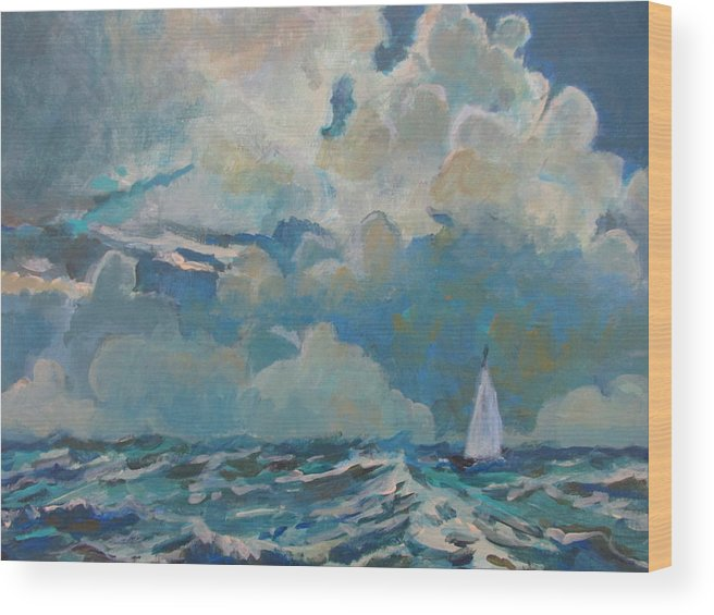 Large Puffy Clouds Wood Print featuring the painting Clouds Sails by Linda Emerson