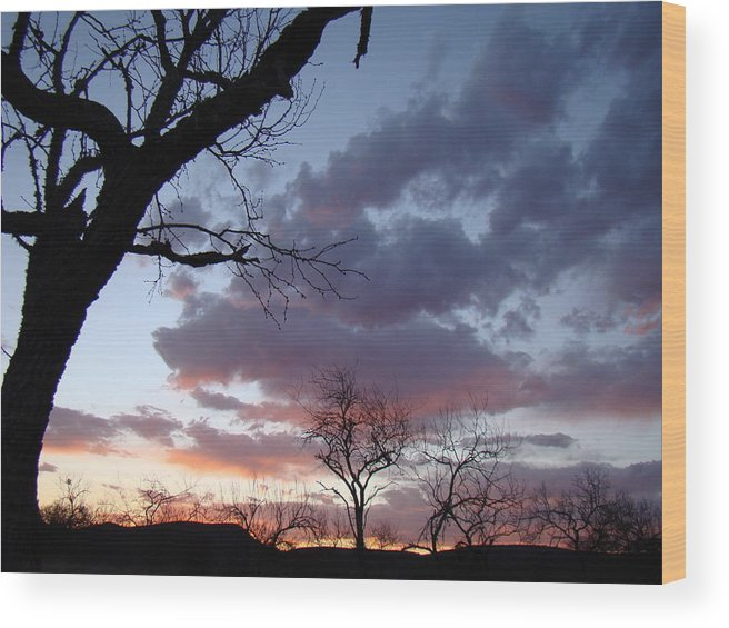 Sunset Wood Print featuring the photograph Cloudy Sunset One by Ana Villaronga