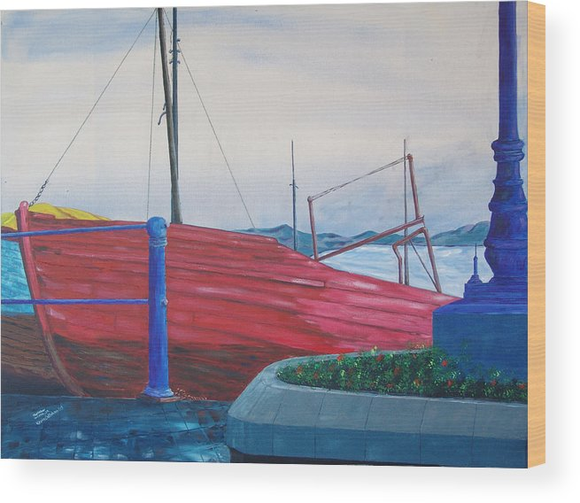 Landscape Wood Print featuring the painting Cobh Harbor Ireland by Kevin Callahan