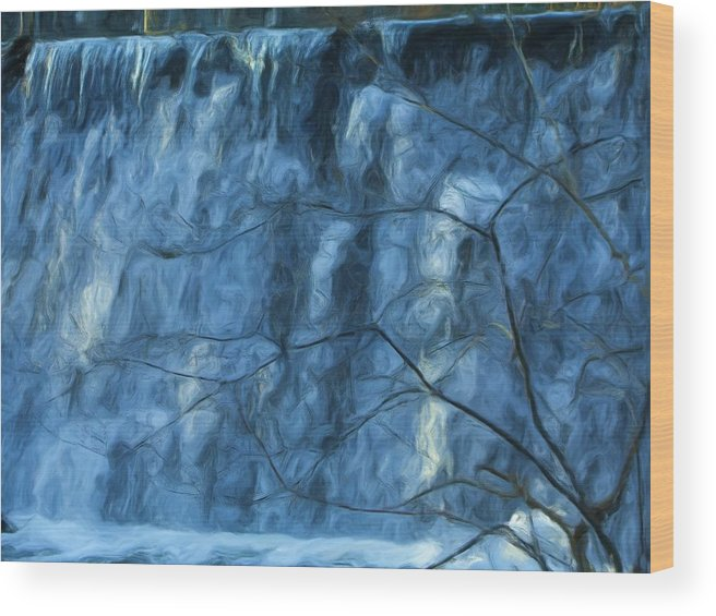 Wood Print featuring the painting Cold Day Cold Water Fall  Winter In Ny by Jonathan Galente