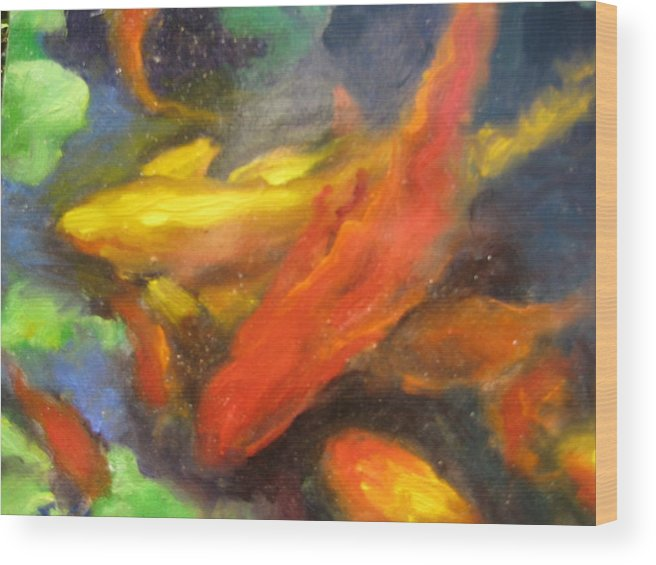 Koi Wood Print featuring the painting Colorful Koi by Susan Jenkins