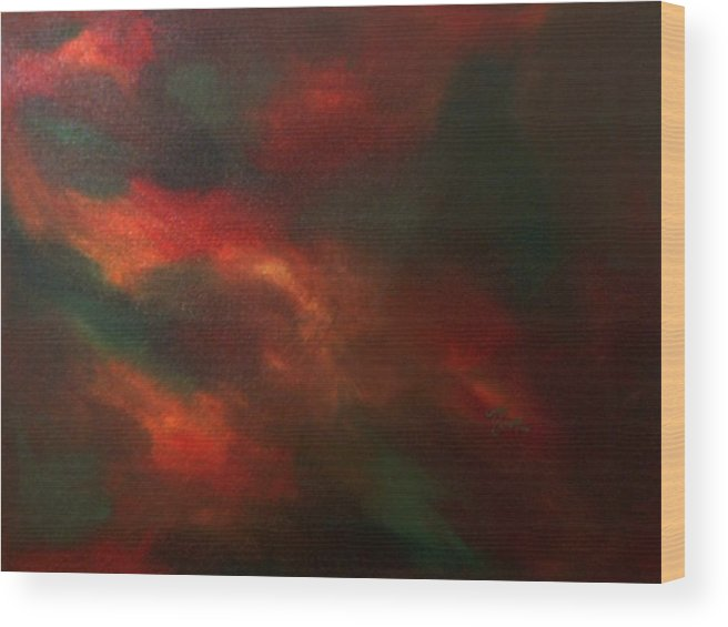Abstract Wood Print featuring the painting Colors In Mind by Guillermo Mason