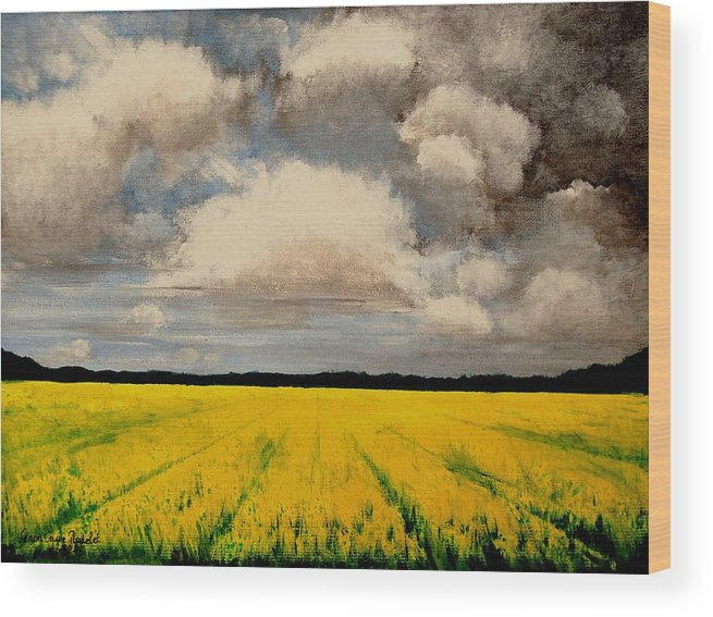 Flowers Wood Print featuring the painting Colza Field by Veronique Radelet