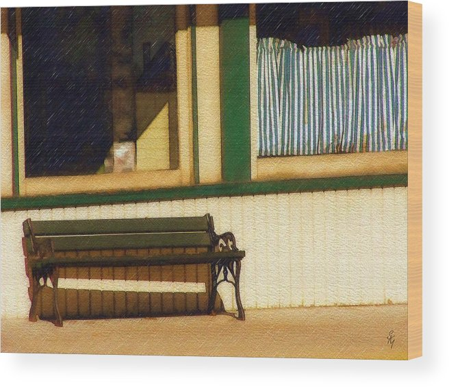 Bench Wood Print featuring the photograph Come Sit A Spell by Sandy MacGowan