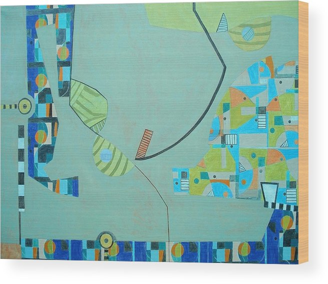 Abstract Wood Print featuring the painting Composition II-07 by Maria Parmo