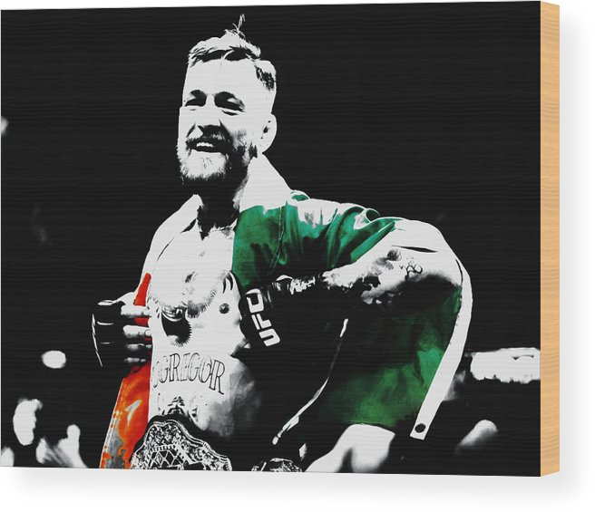 Conor Mcgregor Wood Print featuring the mixed media Conor Mcgregor by Brian Reaves