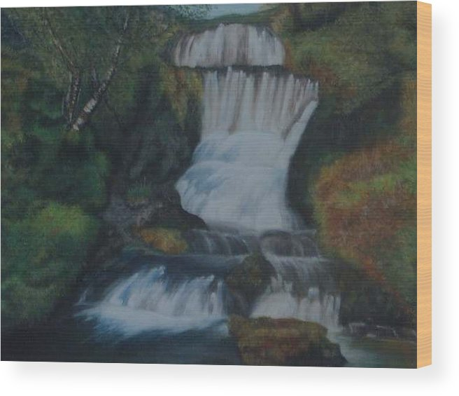 Waterfall Wood Print featuring the painting Cool Waters by Nellie Visser