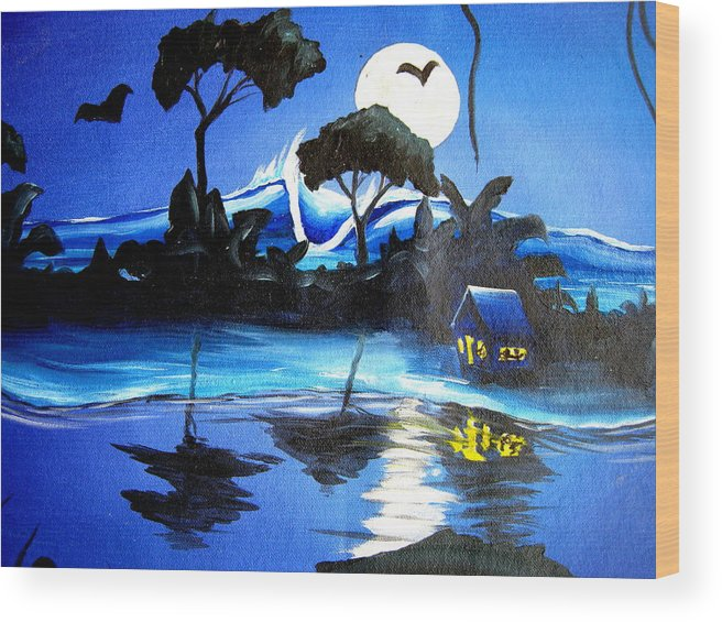 Surf Wood Print featuring the painting Costarica Nightlife by Ronnie Jackson