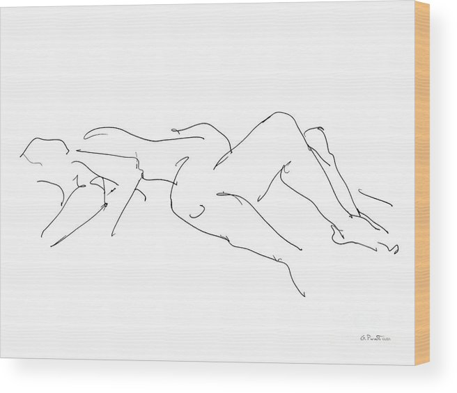 Couples Wood Print featuring the drawing Couples Erotic Art 4 by Gordon Punt