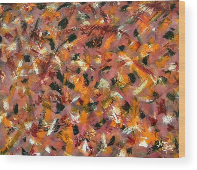 Abstract Wood Print featuring the painting Courage by Guillermo Mason
