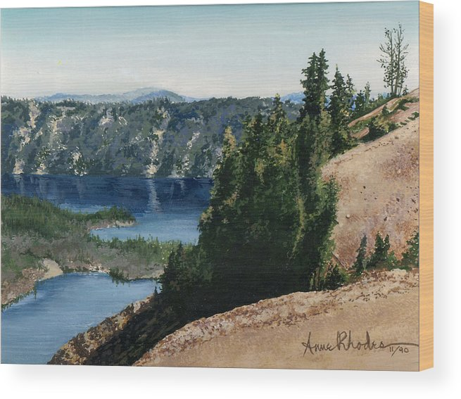 Landscape Wood Print featuring the painting Crater Lake Oregon by Anne Rhodes