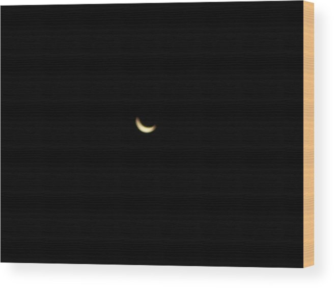 Moon Wood Print featuring the photograph Crescent Moon by Michelle Miron-Rebbe