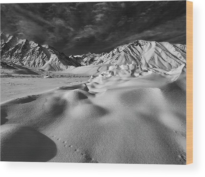 Eastern Sierra Wood Print featuring the photograph Crowley Lake Snow Fields by Chris Morrison