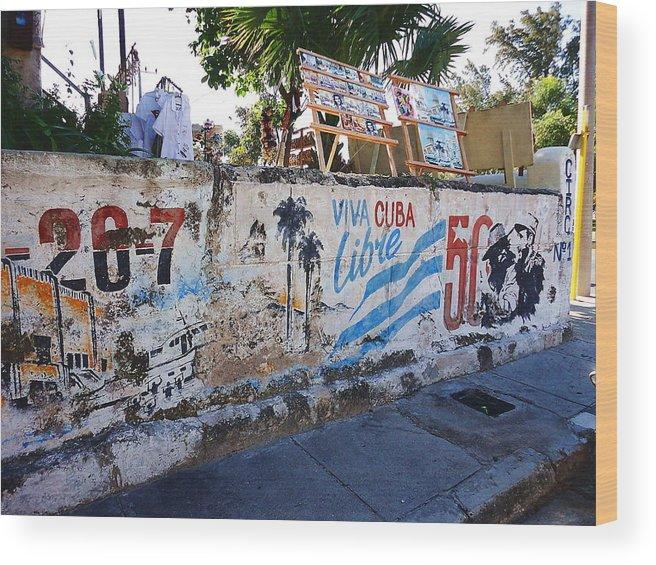 Cuba Wood Print featuring the photograph Cuba Wall by Yury Bashkin