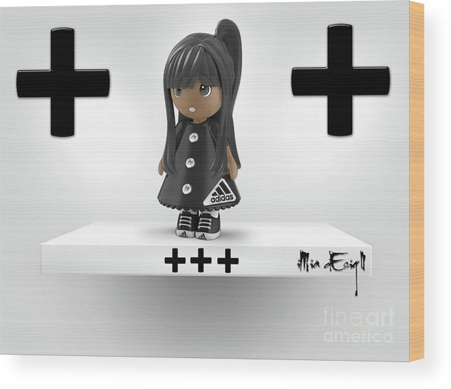 3d Wood Print featuring the digital art Cute 3d Girl On Shelf In Black by Maria Astedt