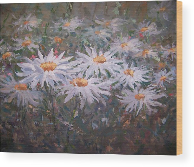 Field Of Daisies. Wood Print featuring the painting Daisies by Bart DeCeglie