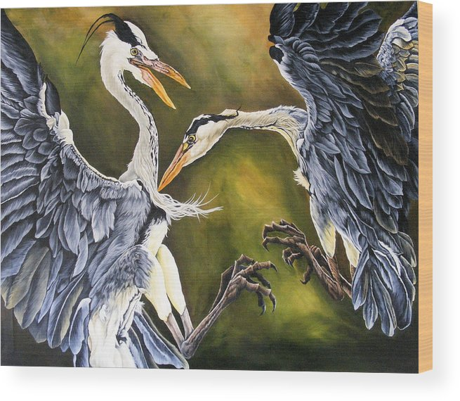 Herons Wood Print featuring the painting Dance Of Life by Donald Dean