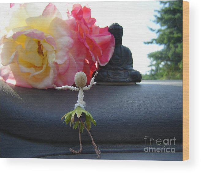 Dancing Wood Print featuring the photograph Dancing Before Buddha And Roses by Eric Singleton
