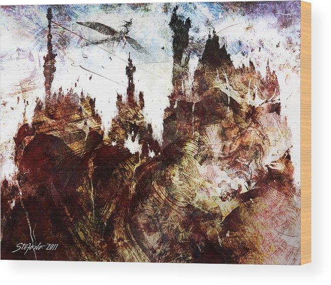 Art Wood Print featuring the digital art Dark Castles by Stefano Popovski