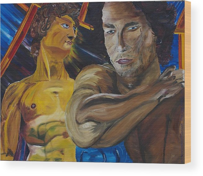 The David Wood Print featuring the painting David V. Hollywood by Gregory Allen Page