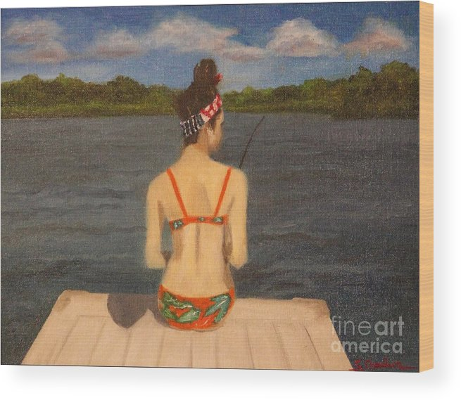 Girl Fishing Lake Dock Wood Print featuring the painting Day Off by Susan Goodson