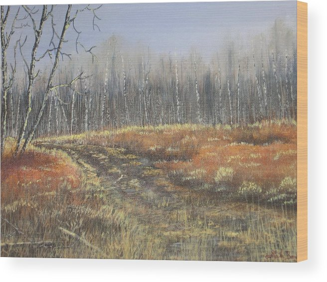 Landscape Wood Print featuring the painting Days Gone By by Sheila Banga